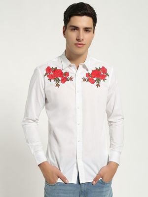 Blue Saint Rose Embroidered Long Sleeve Shirt