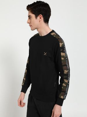 Tiktauli Camo Print Side Tape Sweatshirt