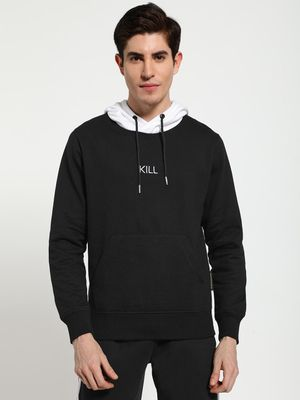 Tiktauli Text Embroidered Contrast Hoodie