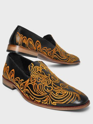 Bolt Of The Good Stuff Embroidered Contrast Sole Loafers