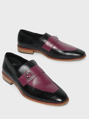 Bolt Of The Good Stuff Contrast Panel Buckle Loafers