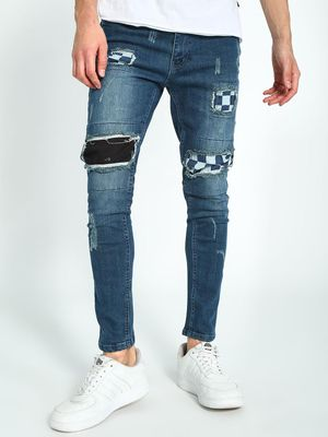 Kultprit Distressed Patch Mid-Wash Skinny Jeans