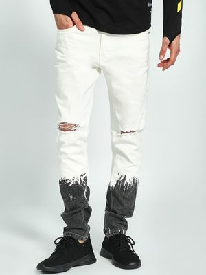 Kultprit Ripped-Knee Ombre Splatter Paint Slim Jeans