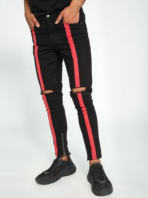 Kultprit Front Tape Ripped Knee Skinny Jeans