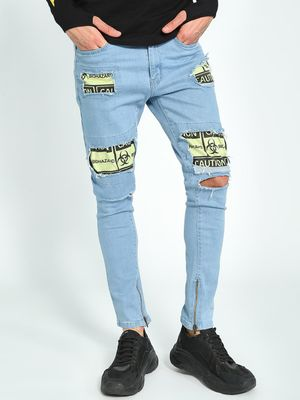 Kultprit Distressed Patchwork Light Wash Skinny Jeans