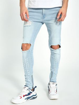 Kultprit Ripped-Knee Contrast Tape Washed Skinny Jeans