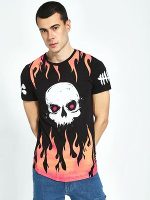Kultprit Skull & Flame Placement Print T-Shirt