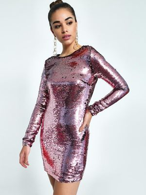 KOOVS Sequinned Backless Bodycon Dress
