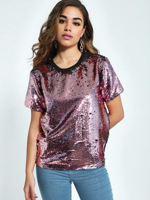 KOOVS Sequin Embellished T-Shirt