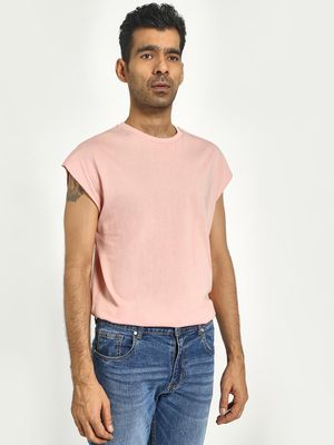 KOOVS Cap Sleeve Crew Neck T-Shirt