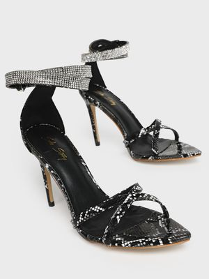 Sole Story Diamante Embellished Snakeskin Print Heeled Sandals