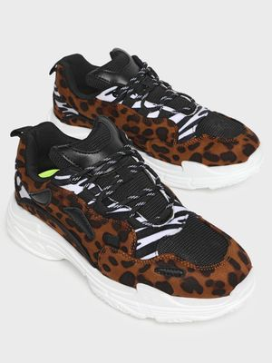 MFT Couture MY FOOT COUTURE Leopard & Zebra Print Chunky Sole Trainers