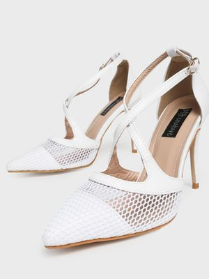 MFT Couture MY FOOT COUTURE Cross Strap Mesh Heeled Pumps