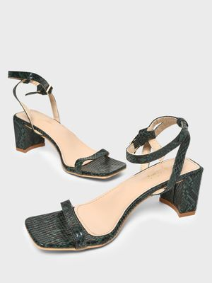 Sole Story Snakeskin Print Block Heeled Sandals