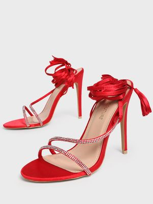 MFT Couture MY FOOTCOUTURE Strappy Tie-Up Embellished Heeled Sandals