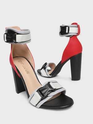 MFT Couture MY FOOT COUTURE Buckle Strap Color Block Heeled Sandals