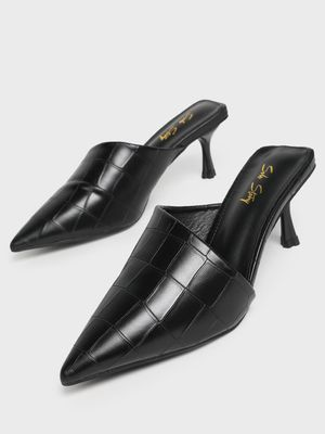 Sole Story Asymmetric Crocskin Heeled Mules