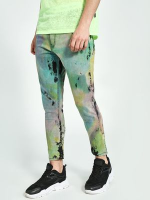 K Denim KOOVS Tie & Dye Cropped Slim Jeans