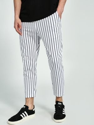 KOOVS Vertical Stripe Cropped Jog Pants