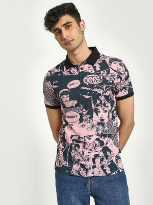 KOOVS Comic Print Polo Shirt