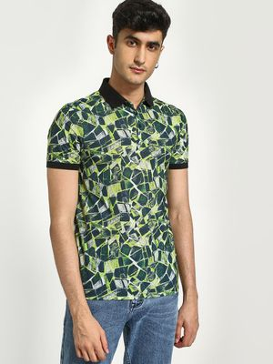 KOOVS Abstract Tile Print Polo Shirt