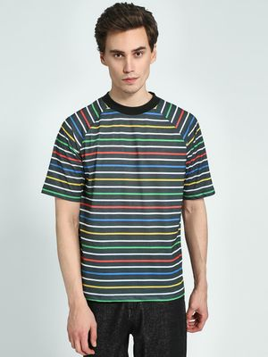 KOOVS Horizontal Stripe Raglan Sleeve T-Shirt