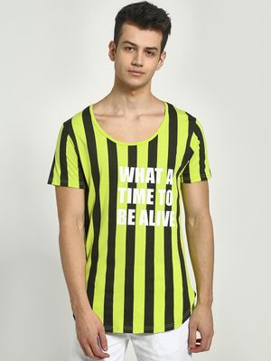 KOOVS Scoop Neck Vertical Stripe T-Shirt