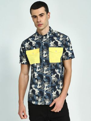 KOOVS Abstract Print Twin Pocket Shirt