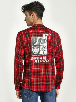 KOOVS Back Slogan Placement Print Check Shirt