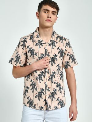 KOOVS Toucan Print Cuban Collar Shirt