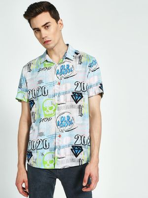KOOVS Graffiti Print Short Sleeve Shirt