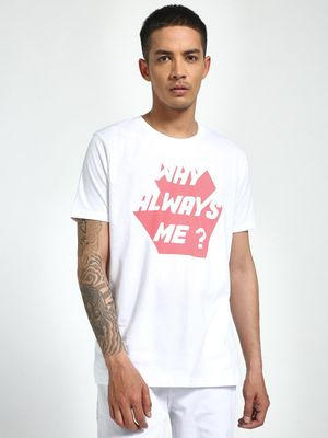 Garcon Why Always Me Placement Print T-Shirt