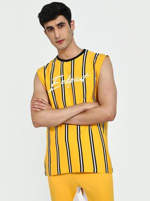 Garcon Text Print Vertical Stripe Tank