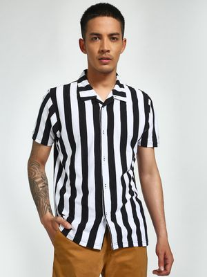 Garcon Yarn-Dyed Vertical Stripe Cuban Shirt