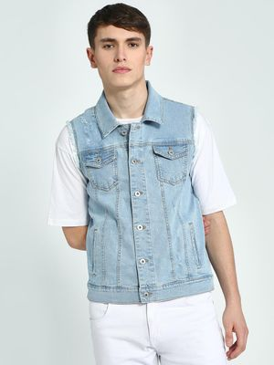 Blue Saint Washed Distressed Sleeveless Denim Jacket