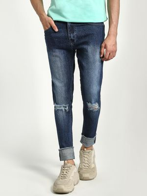 K Denim KOOVS Mid-Wash Ripped Knee Slim Jeans