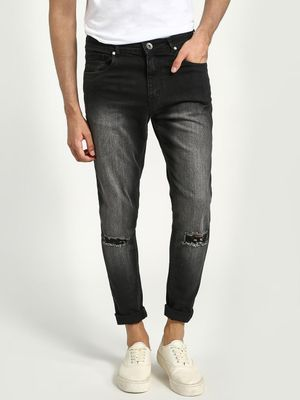 K Denim KOOVS Washed Knee-Rip Slim Jeans