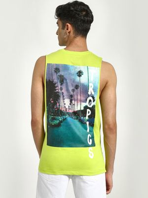 KOOVS Back Tropics Placement Print Tank