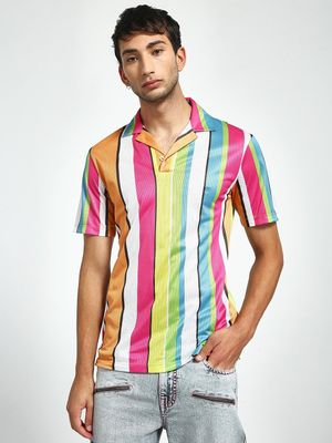 KOOVS Vertical Stripe Cuban Polo Shirt