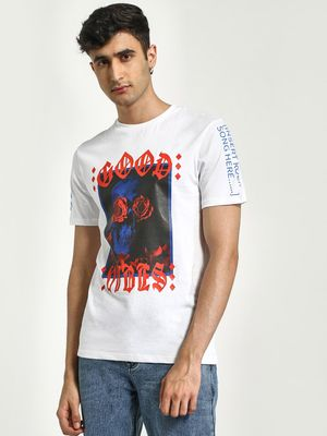 KOOVS Good Vibes Placement Print T-Shirt