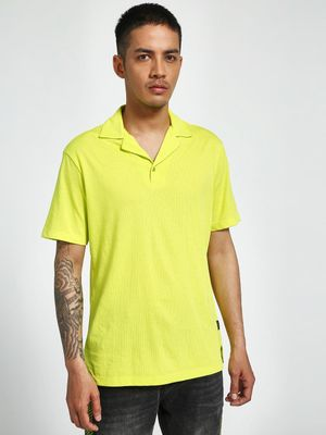 KOOVS Mesh Cuban Polo Shirt
