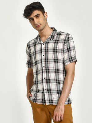 KOOVS Check Print Cuban Collar Shirt