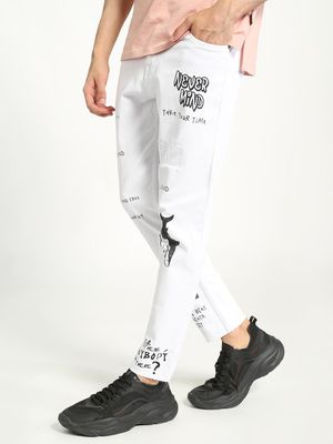 K Denim KOOVS Graffiti Print Cropped Slim Jeans