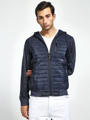 Brave Soul Quilted-Front Hooded Jacket