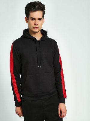 Brave Soul Contrast Side Tape Hooded Sweatshirt