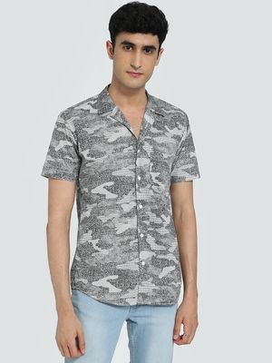 AMON Washed Camo Print Cuban Collar Shirt