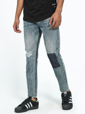 REALM Acid Wash Distressed Patch Slim Jeans