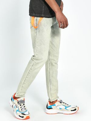 REALM Acid Wash Tape Detail Slim Jeans