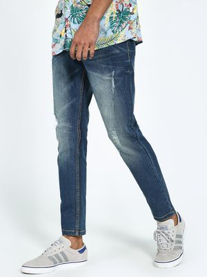 REALM Light Wash Distressed Slim Jeans