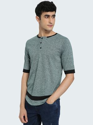 IMPACKT Contrast Panel Henley Neck T-Shirt